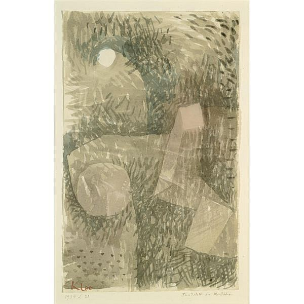 f - Paul Klee , 1879-1940 FUNDSTELLE IM MONDSCHEIN (SITE BY MOONLIGHT) watercolour on paper laid down on the artist's mount