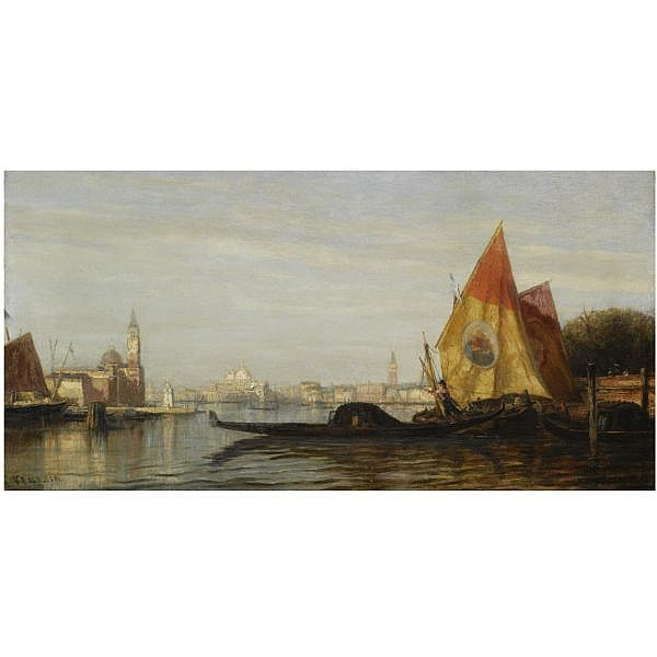 Attributed to Alexei Petrovich Bogoliubov , 1824-1896 View of Venice oil on canvas