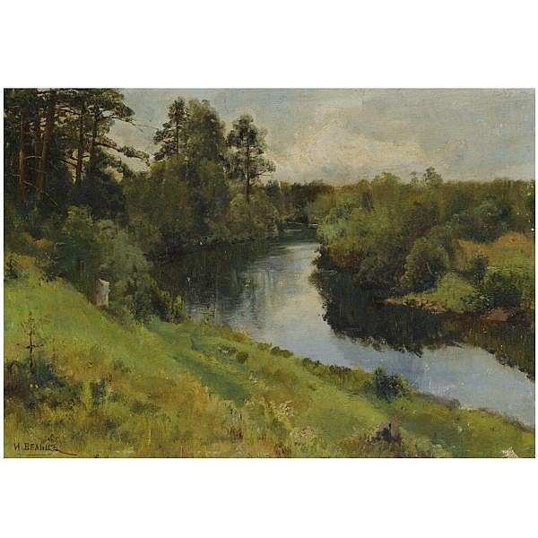 - Ivan Avgustovich Veltz , 1866 - 1926 River Landscape oil on canvas laid on board