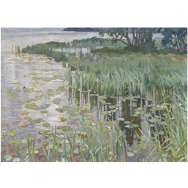 Anatoly Dmitrievich Kaigorodov , 1878-1945 Reeds gouache on board