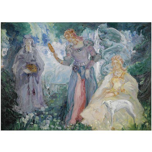 - Konstantin Pavlovich Kuznetsov , 1863-1936 Allegorical scene oil on canvas