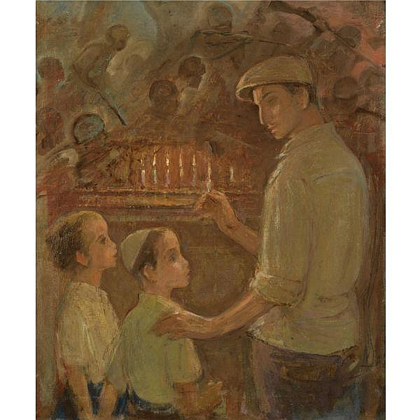 Wilhelm Wachtel 1875-1942 , The Pioneer's Hanukah oil on canvas