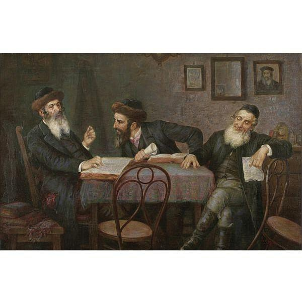 Josef Suss 1892 - 1961 , The Rabbinical Discussion oil on canvas