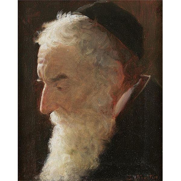 Lazar Krestin 1868-1938 , Portrait of a Rabbi oil on canvas