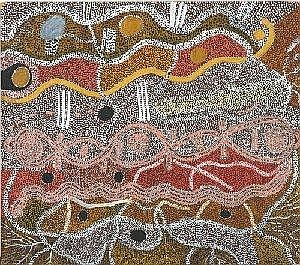 DINNY NOLAN TJAMPITJINPA BORN CIRCA 1922 WATER AND KAMPURRARPA 1973 78 by 68.5 cm Synthetic polymer paint on composition board Bears Papunya Tula Artist's catalogue number DN730631 on the reverse Provenance: Private collection, Sydney This painting