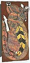 PETER MARRALWANGA CIRCA 1916-1987 NARBALEK ROCK WALLABY C.1987 93 by 42.5 cm Natural earth pigments on eucalyptus bark Bears artist's name language group, Kuninjku, and title on the reverse Provenance: Painted at Marrkolidban Outstation for, Peter Marralwanga, Click for value