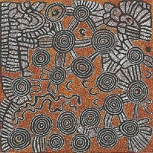 NANCY NUNGURRAYI BORN CIRCA 1930 KARRILWARA 1998 91.5 by 91.5 cm Synthetic polymer paint on linen Bears artist's name, size and Papunya Tula Artists catalogue number NN981224 on the reverse Provenance: Painted at Kintore in 1998 for Papunya Tula