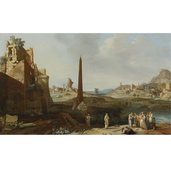 Bartholomeus Breenbergh , Deventer 1598 - 1657 Amsterdam Extensive Italianate Landscape with the Finding of Moses oil on panel