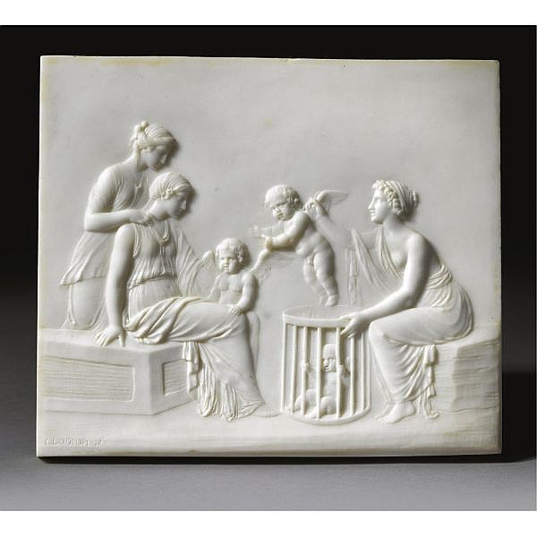 A French Marble Relief of 'La Marchande d'Amours', By Clodion (1738-1814), 