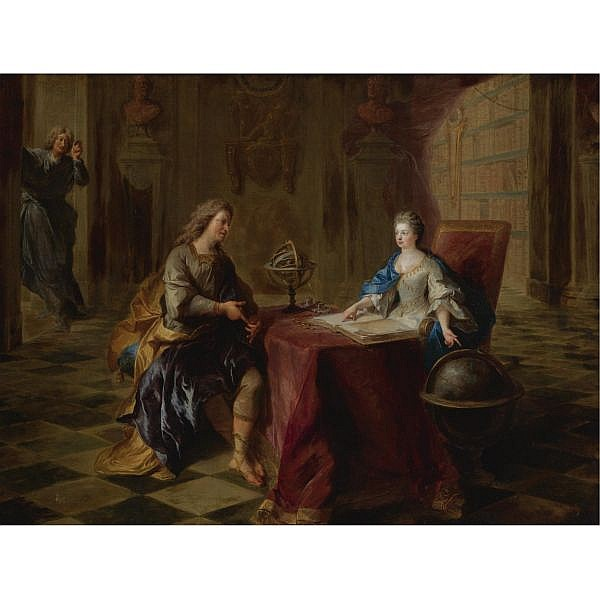 François de Troy , Toulouse 1645 - 1730 Paris The Astronomy Lesson of the Duchesse du Maine oil on canvas