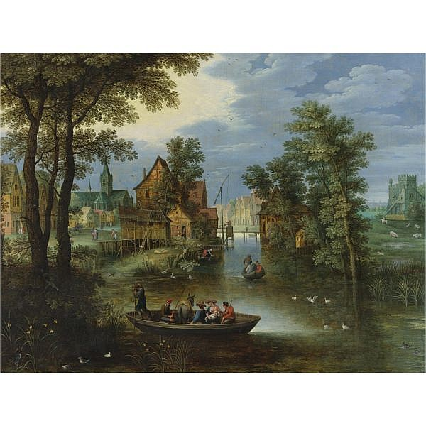 Maerten Ryckaert , Antwerp 1587 - 1633 A River landscape with the Flight into Egypt oil on panel