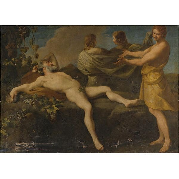 Attributed to Andrea Sacchi , Rome (?) circa 1599 - 1661 Rome The Drunkenness of Noah oil on canvas