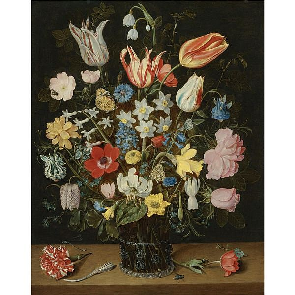Isaak Soreau , Frankfurt-am-Main 1604 - in or after 1645 Still Life of Roses, Tulips, a White Lily, Poppy Anemones, Narcissi, Carnations, Columbine, Hyacinth, Snowdrop, Cyclamen, Fritillary, Cornflower, Lily-of-the-Valley, Crocus, Forget-Me-Not and