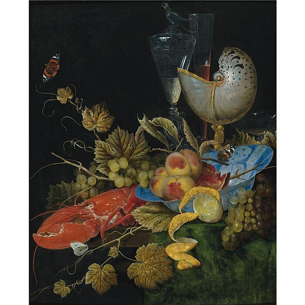Ottmar Elliger the Elder , Göteborg 1633 - 1679 Berlin Still life with Lobster, Fruit and a Nautilus Shell oil on panel