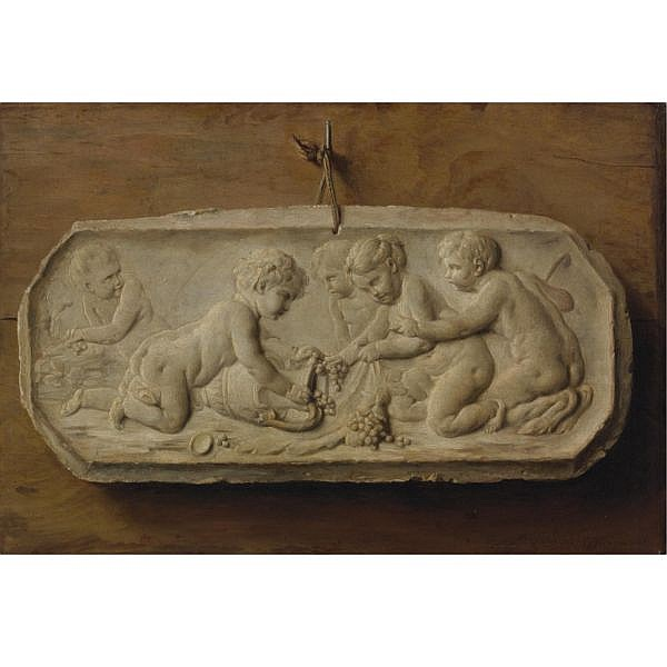 Anne Vallayer-Coster , Paris 1744 - 1818 Trompe l'oeil of a terracotta bas-relief tacked to a wooden panel depicting children and a young faun gathering grapes oil on canvas