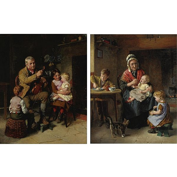 William Hemsley R.B.A. 1819-1893 , Grandfather's Recital and Grandmother's Charges: a pair oil on canvas (2 works)