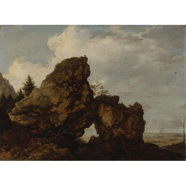 Allaert van Everdingen Alkmaar 1621 - 1675 Amsterdam , A Rocky Arch Near the Coast oil on panel