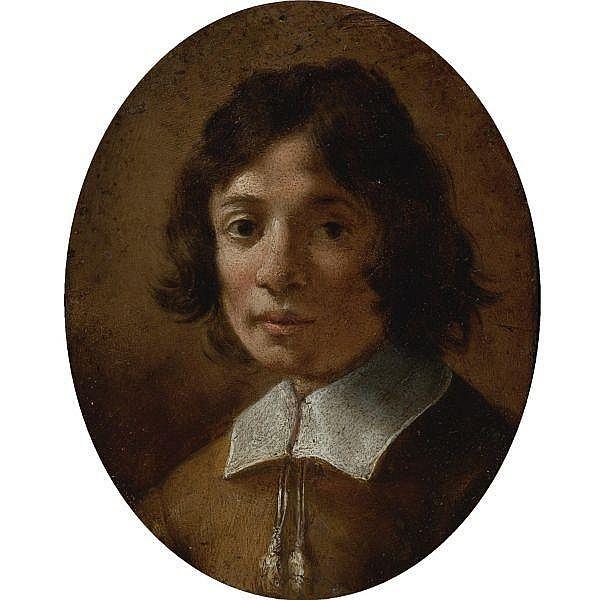 Attributed to Giovanni Mannozzi, called da San Giovanni Valdarno 1592 - 1636 Florence , Portrait of a Boy in Brown oval, oil on copper