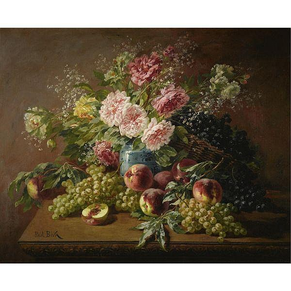 Paul Biva 1851-1900 , Still life with flowers, peaches and grapes oil on canvas