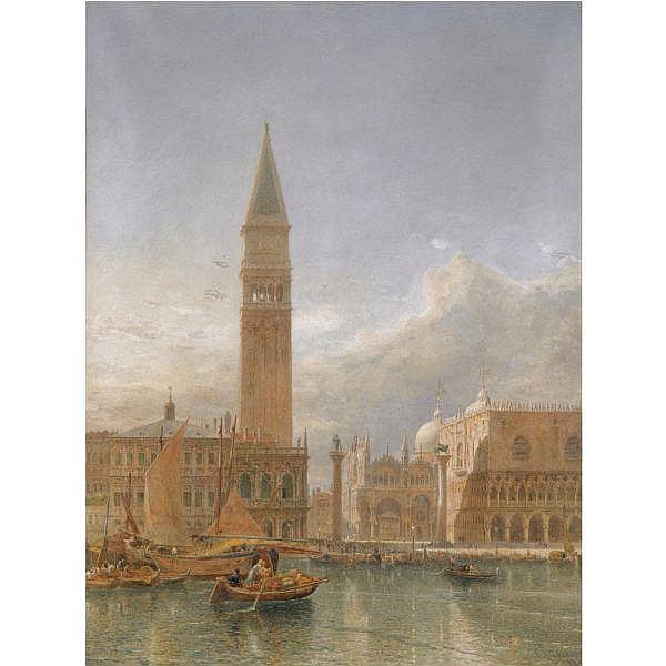 Edward Alfred Goodall, R.W.S. , 1819-1908 Piazzetta San Marco, Venice watercolour over pencil with bodycolour heightened with touches of scratching out, in an original gilt-wood frame