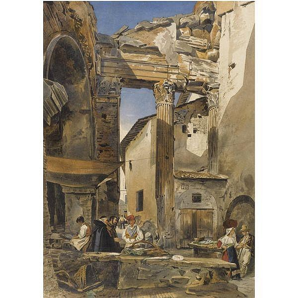 Thomas Hartley Cromek , 1809 - 1873 The Fish Market, Rome watercolour over pencil with bodycolour and gum arabic