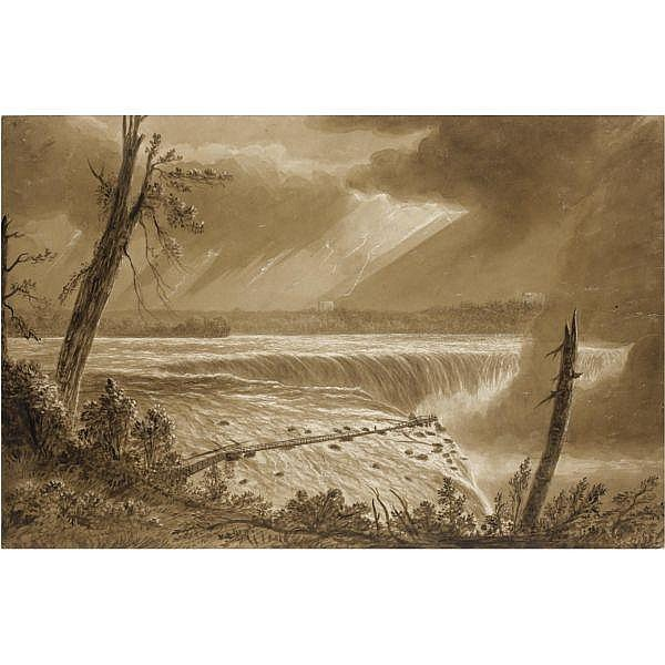 Major-General James Pattison Cockburn , c.1779-1849 The Horseshoe Falls of Niagara, Canada brown wash over pencil, heightened with scratching out