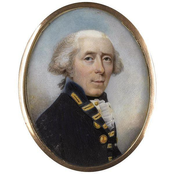 Philip Jean , 1755 - 1802 Portrait of Admiral Skeffington Lutwidge (d. 1814); together with a leather-bound bible and a document citing Lutwidge family history watercolour on ivory