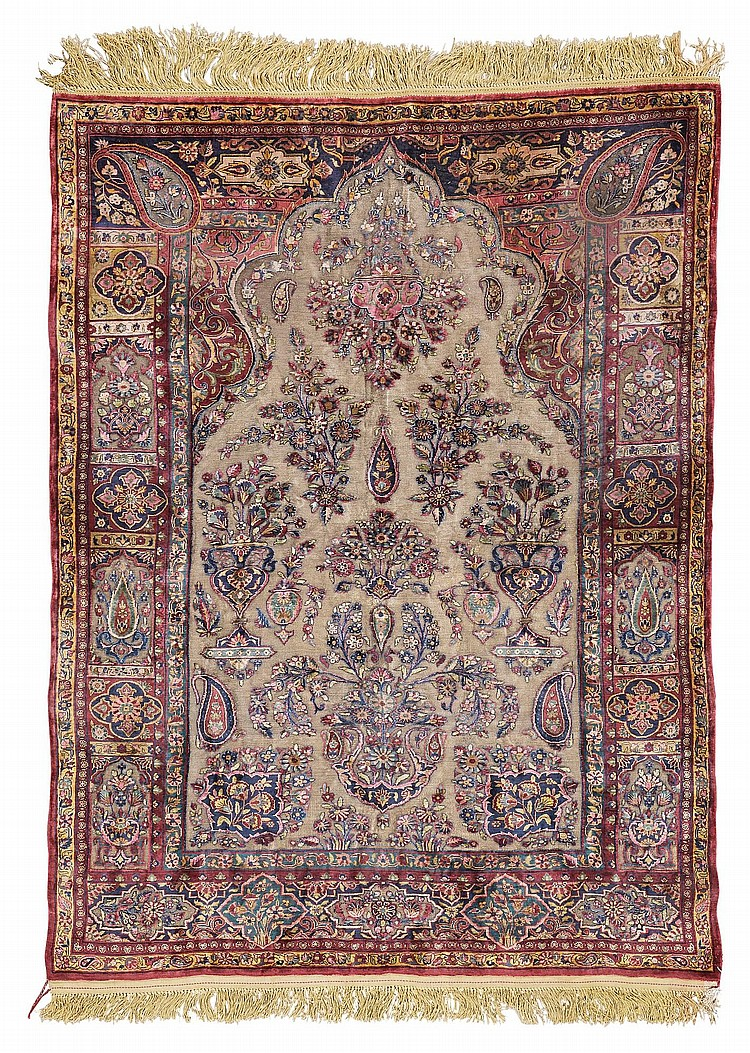 AN UNUSUALLY FINE AND SMALL KASHAN SILK AND METAL-THREAD SOUF PRAYER RUG, CENTRAL PERSIA  