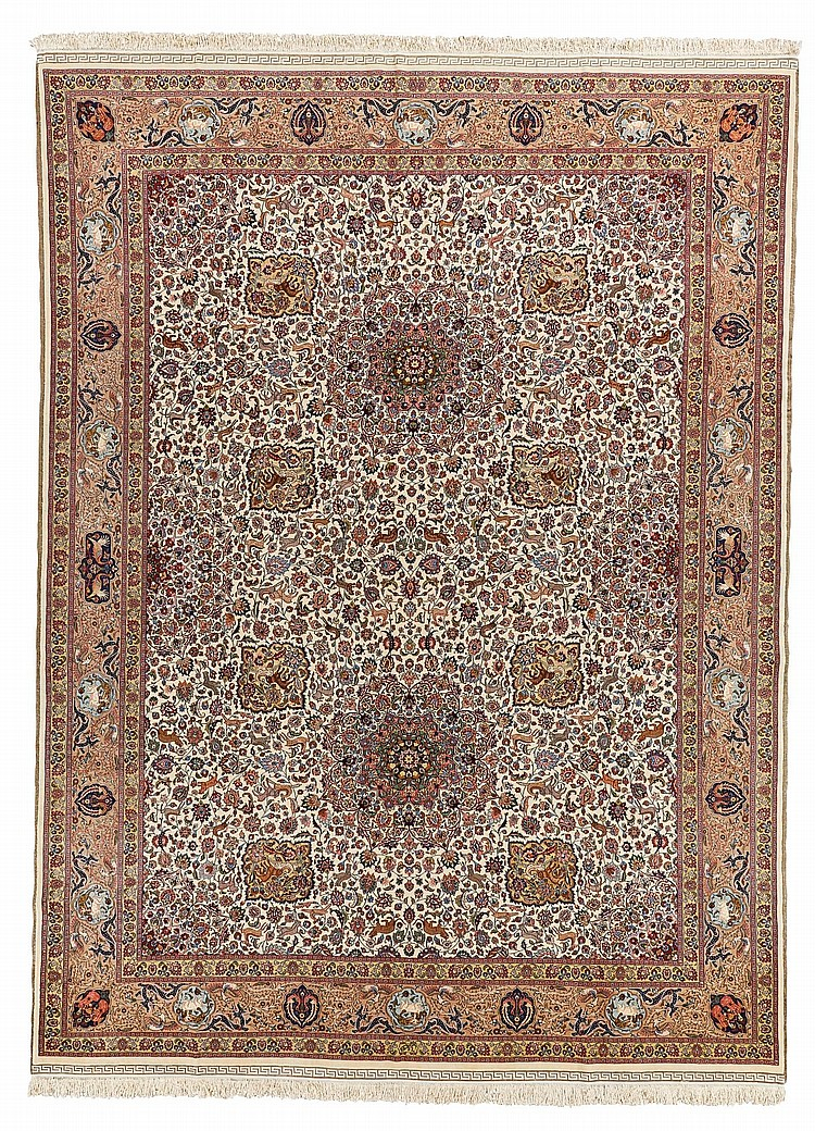 A MASHAD PART SILK CARPET, NORTHEAST PERSIA |