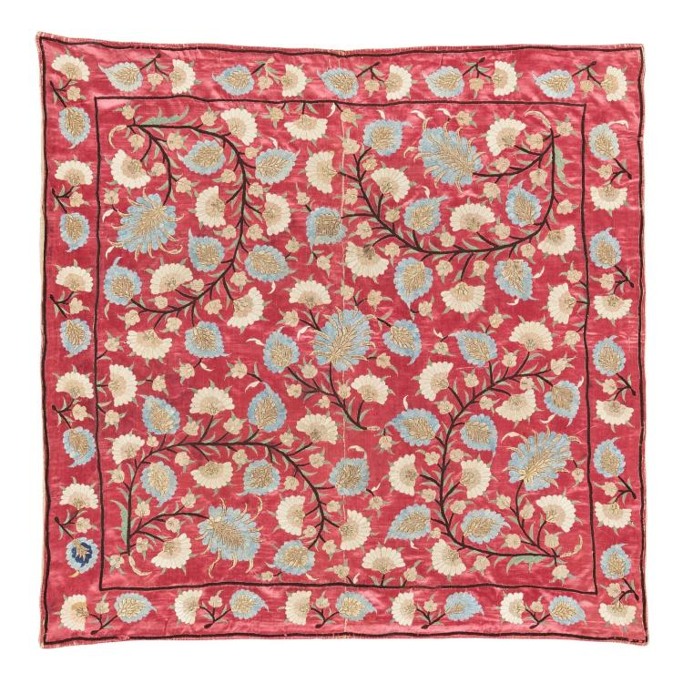 TWO SILK AND METAL-THREAD EMBROIDERED BOHÇA (WRAPPING CLOTHS), OTTOMAN |