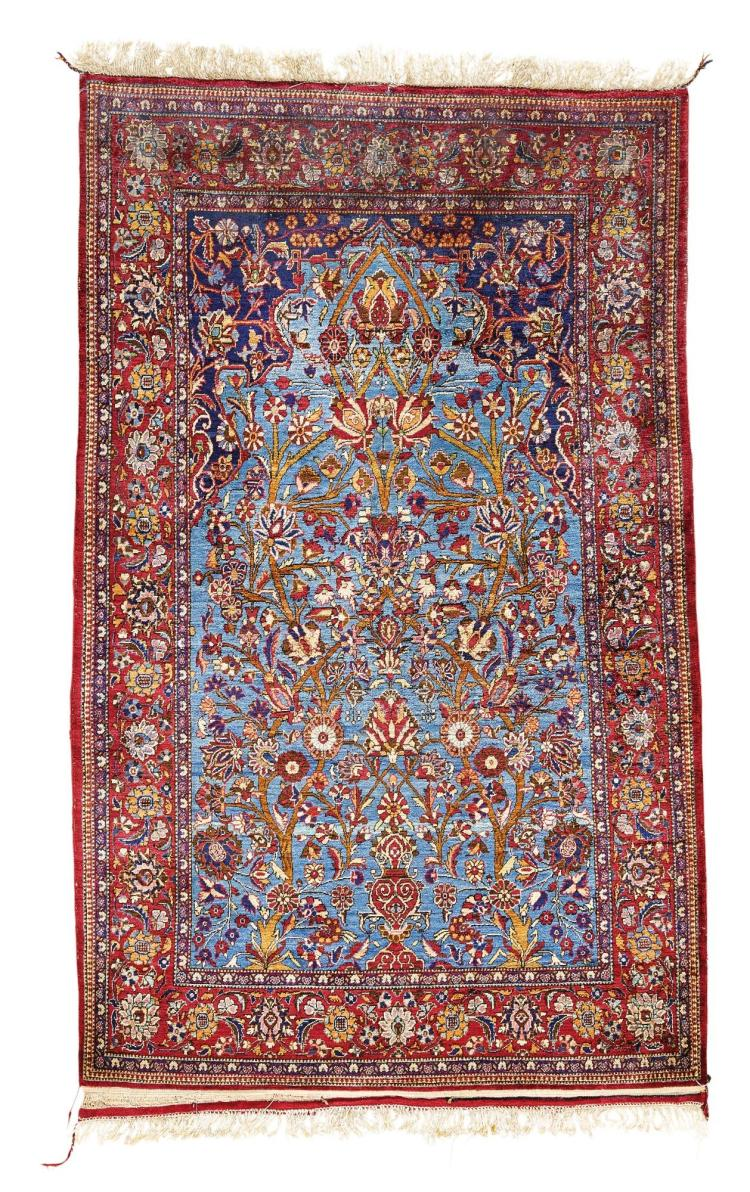 A KASHAN SILK PRAYER RUG, CENTRAL PERSIA |