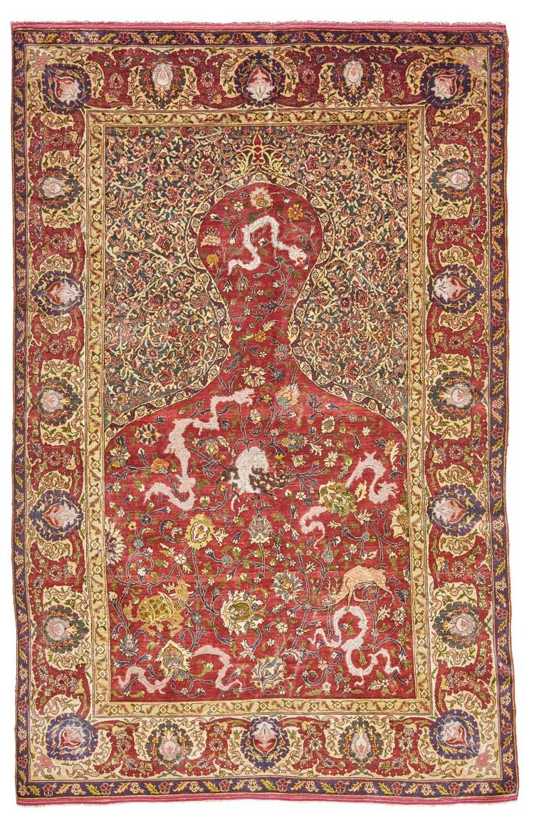 A KUM KAPI SILK AND METAL-THREAD PRAYER RUG, PROBABLY BY TOUSSOUNIAN, WEST ANATOLIA |
