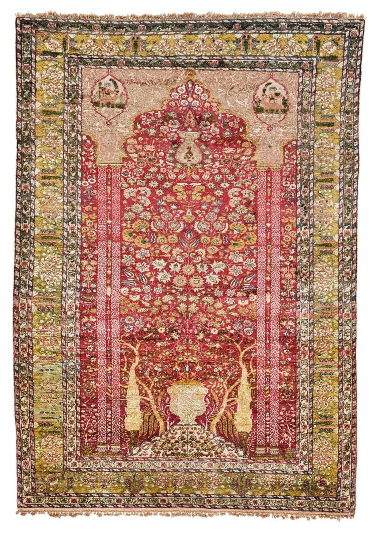 A PANDERMA 'ART SILK' PRAYER RUG, WEST ANATOLIA |