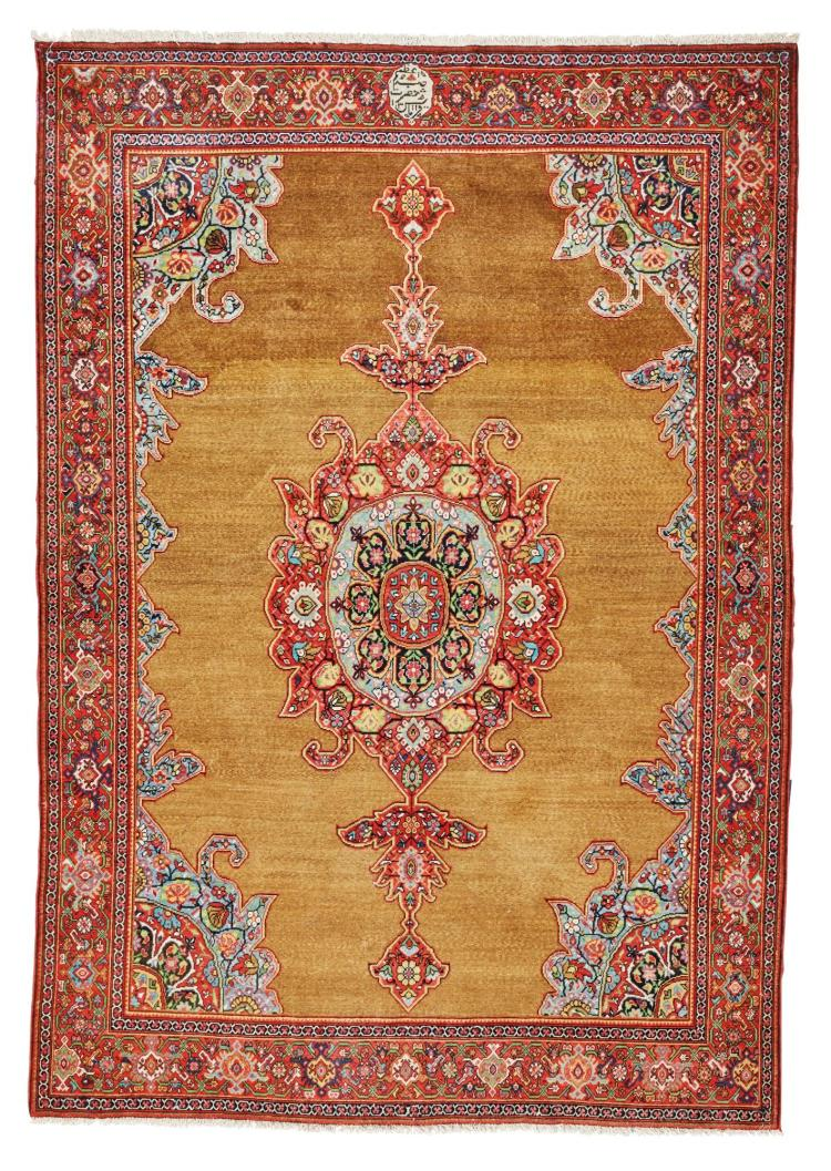 AN UNUSUAL CAMEL HAIR FERAGHAN RUG, WEST PERSIA |