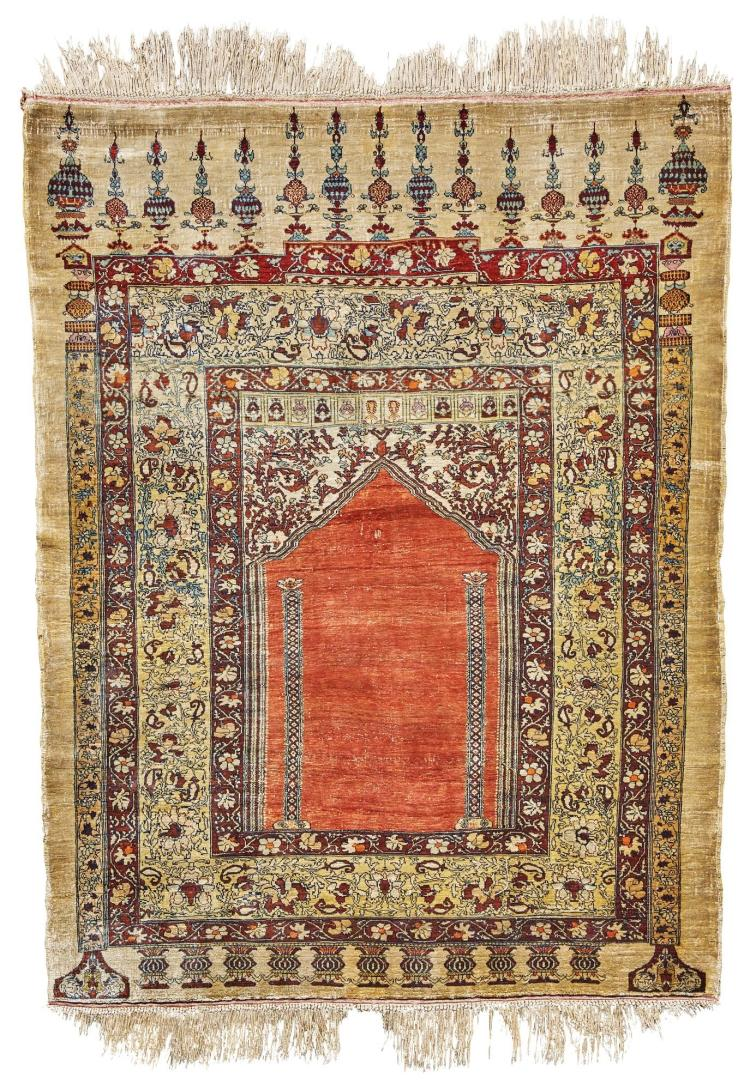 A TABRIZ SILK PRAYER RUG, NORTHWEST PERSIA |