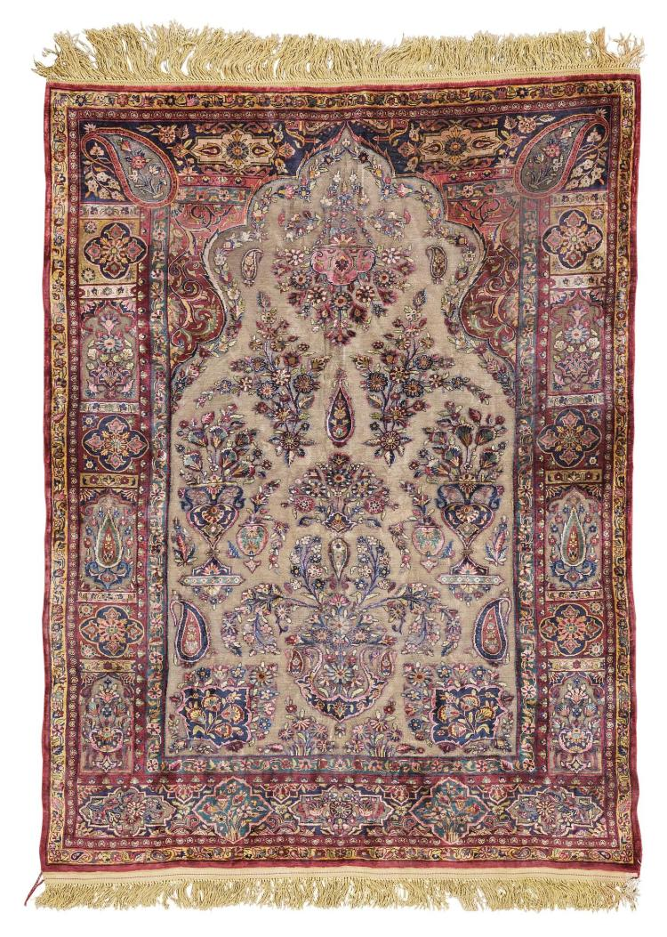 AN UNUSUALLY FINE AND SMALL KASHAN SILK AND METAL-THREAD SOUF PRAYER RUG, CENTRAL PERSIA |
