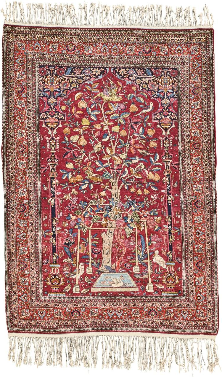 A FINE PART SILK MASHAD RUG, NORTH PERSIA |