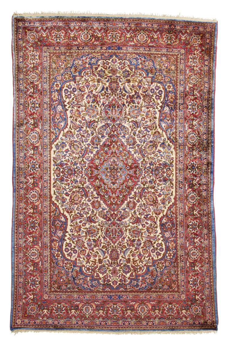 A KASHAN SILK RUG, CENTRAL PERSIA |