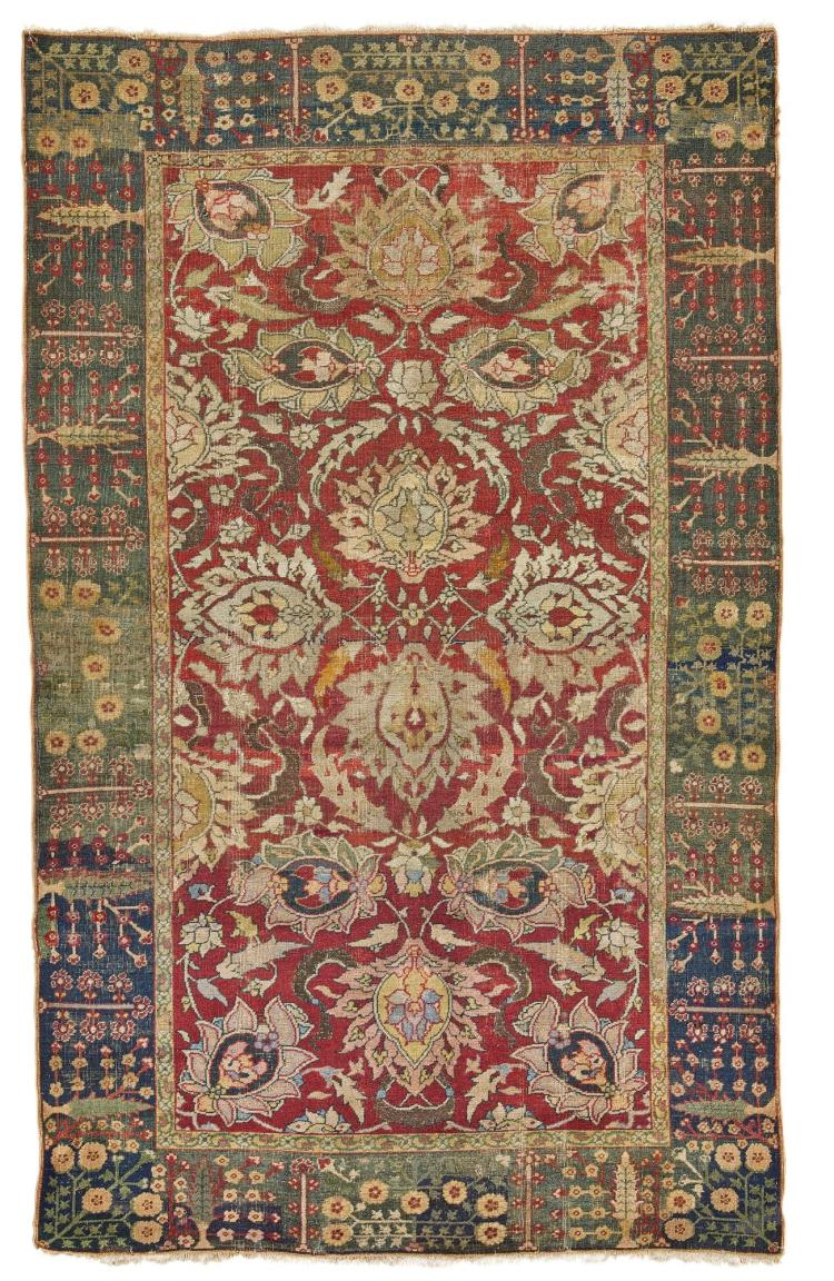 A LAHORE WOOL AND METAL-THREAD RUG, NORTHWEST INDIA |