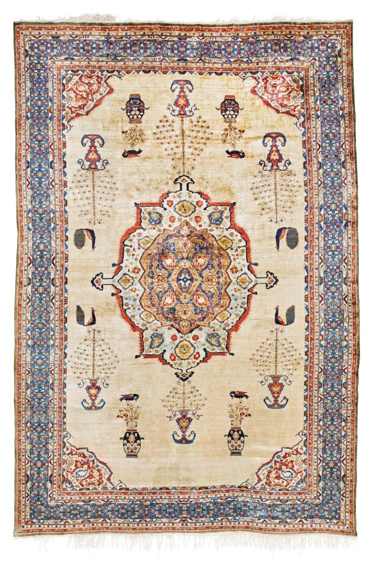 A TABRIZ SILK CARPET, NORTHWEST PERSIA |