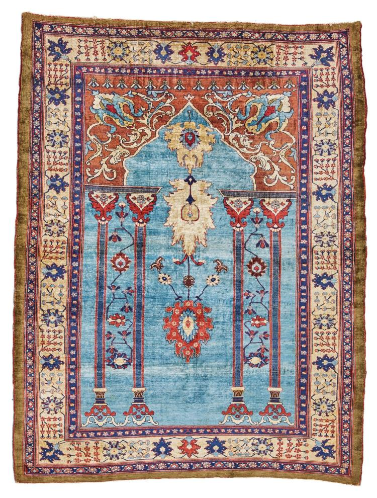 A NORTHWEST PERSIAN SILK PRAYER RUG |
