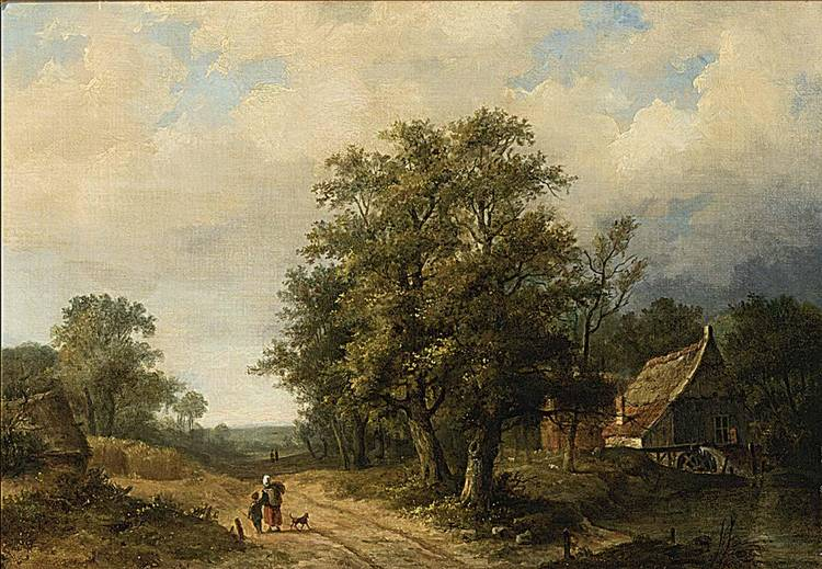 HENDRIK PIETER KOEKKOEK DUTCH 1843-1890 FIGURES ON A PATH IN A LANDSCAPE