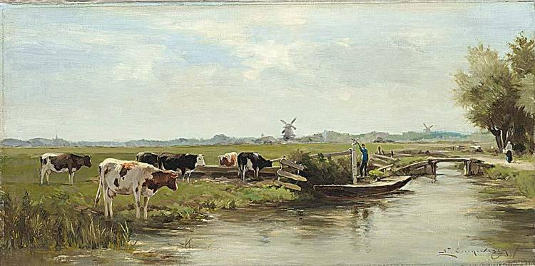 ADRIANUS JOHANNES GROENEWEGEN DUTCH 1874-1963 COWS NEAR THE WATERSIDE