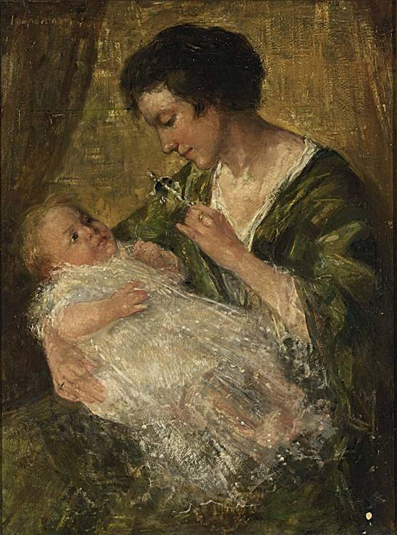 SIMON WILLEM MARIS DUTCH 1873-1935 MOTHER AND CHILD