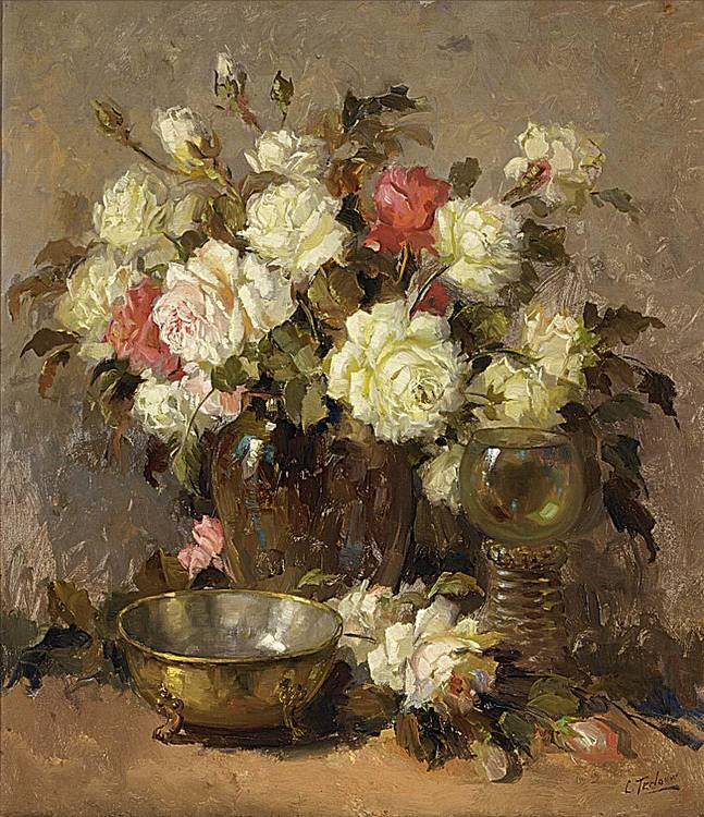 KEES TERLOUW DUTCH 1890-1948 A FLOWER STILL LIFE WITH ROSES IN A GLASS VASE, A ROEMER AND A BRASS
