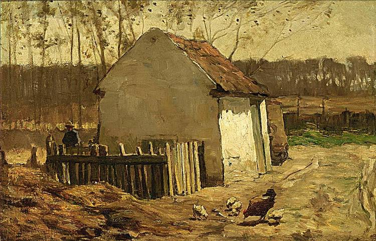 BERNARD SCHREGEL DUTCH 1870-1956 A FARMHOUSE IN A LANDSCAPE WITH CHICKENS NEARBY