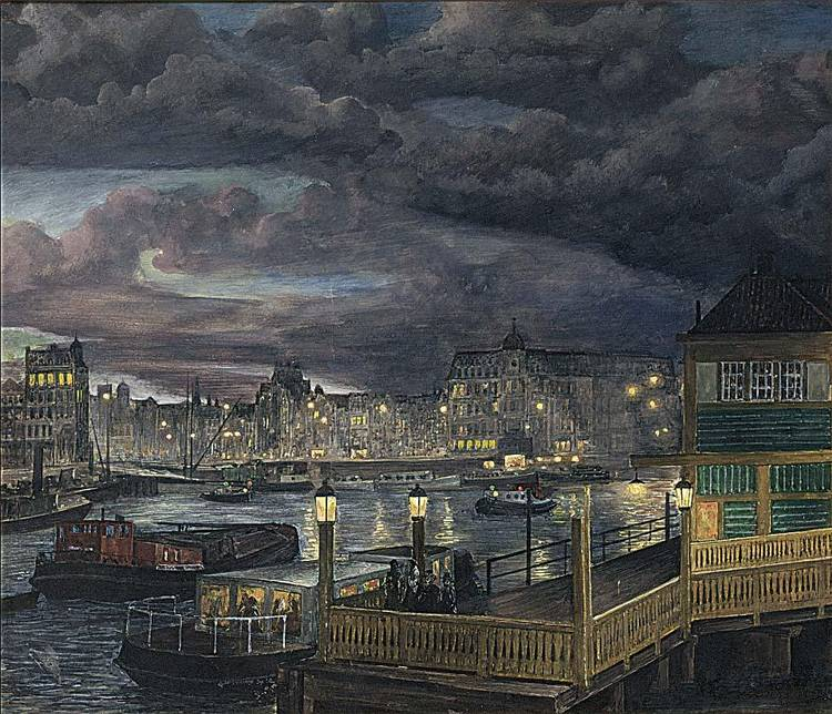 GERRIT VAN YPEREN DUTCH 1882-1955 A VIEW OF THE DAMRAK, AMSTERDAM BY NIGHT