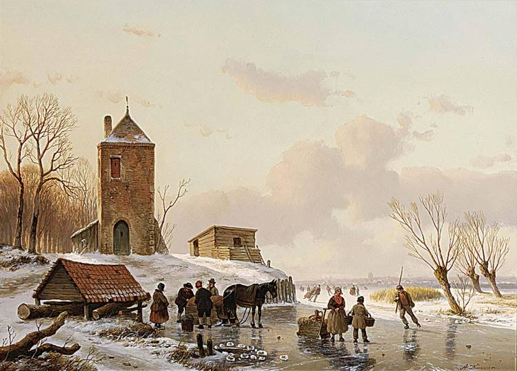 ANTON KARSSEN DUTCH BORN 1945 A WINTER LANDSCAPE WITH SKATERS ON THE ICE