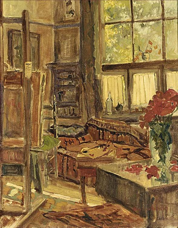 HENRI VAN OS-DELHEZ DUTCH 1880-1976 THE ARTIST'S STUDIO