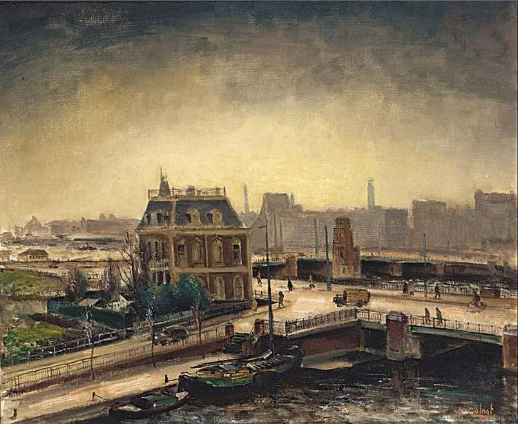 ARNOUT COLNOT DUTCH 1887-1983 A VIEW OF THE BERLAGE BRUG, AMSTERDAM